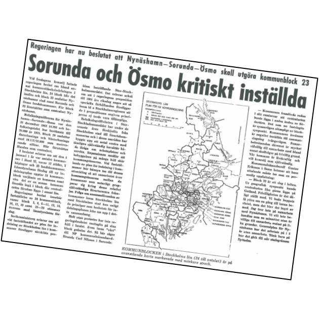 1964-02-11 - Sorunda och Ösmo kritiskt inställda till kommunsammanslagning - Regeringen har nu beslutat att Nynäshamn - Sorunda - Ösmo skall utgöra kommunblock 23. Centralorten kan lika gärna ligga på Gotland!