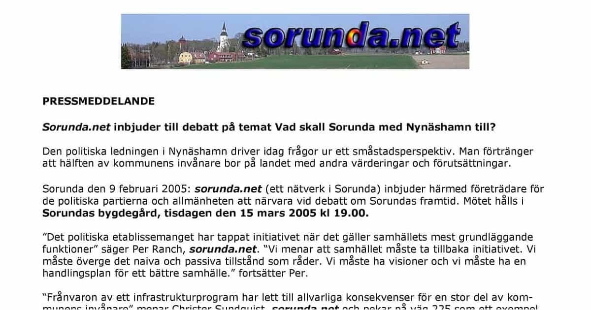 2005-02-13 - Pressmeddelande: Sorunda.net inbjuder till debatt - Vad ska Sorunda med Nynäshamn till?