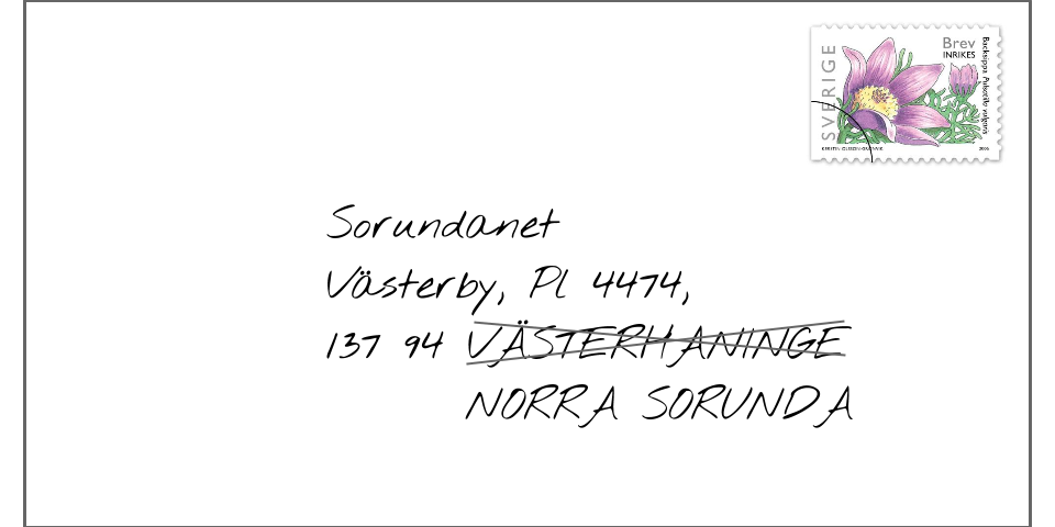 Motion genomförd Ny postadress NORRA SORUNDA! 2006 föreslog vi det; 1 april 2008 blev det verklighet.