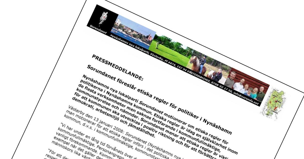 2008-01-13 - Pressmeddelande - Vi föreslår etiska regler för politiker!