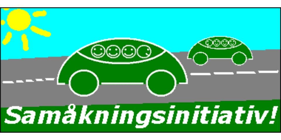 Vi vill se ökad samåkning Miljöhänsyn och gles och opålitlig kollektivtrafik har gjort att vi föreslår att vår kommunen uppmuntrar samåkning