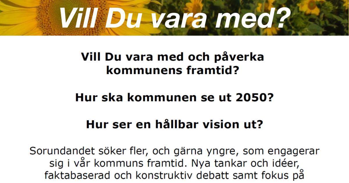 2009-11-30 - Vill Du vara med och påverka vår kommuns framtid? - Vi söker fler, och gärna yngre, som engagerar sig i vår kommuns framtid. Nya tankar och idéer, faktabaserad och konstruktiv debatt samt fokus på gemensamma vardagsproblem och framtidsdrömmar.