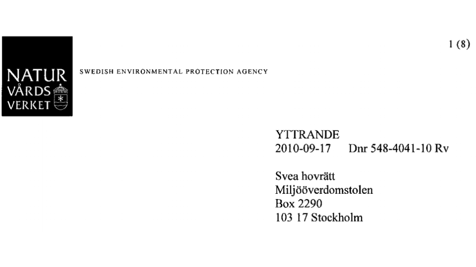2010-09-17 - Naturvårdsverket dissar containerhamnen! - Man avstyrker ansökan med hänvisning till bl.a. brister i ansökningshandlingarna.