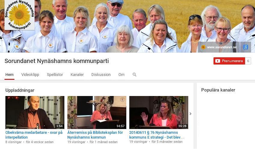 2011-12-14 - Vi startar kanal på YouTube - Vi hoppas kanalen underlättar för Dig som vill följa den kommunala debatten.