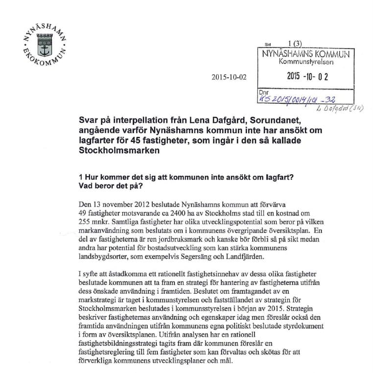 2015-10-02 - Svar på interpellation om Stockholmsmarken. - Pest eller kolera? När vi ställde frågan trodde vi på slarv. När vi läser svaret så inser vi att man medvetet väljer att inte följa lagen.