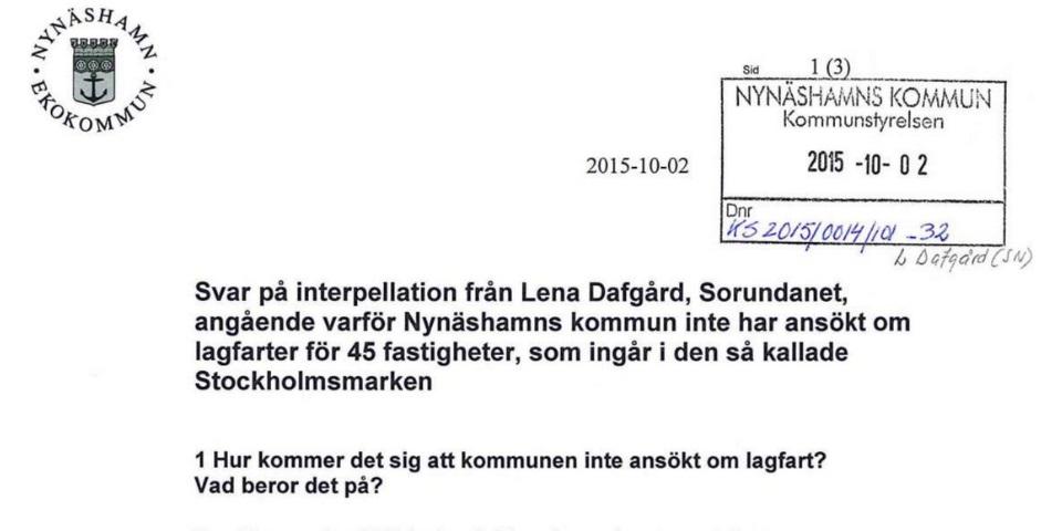 Svar på interpellation om Stockholmsmarken. Pest eller kolera? När vi ställde frågan trodde vi på slarv. När vi läser svaret så inser vi att man medvetet väljer att inte följa lagen.