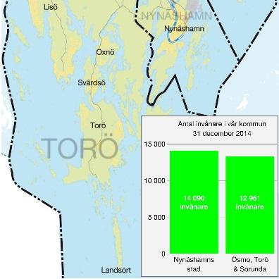 2016-08-13 - Förslag till nya kommuner samt fördelning av invånare - 52 procent bor i Nynäshamns stad och 48 procent bor i Ösmo, Torö och Sorunda.