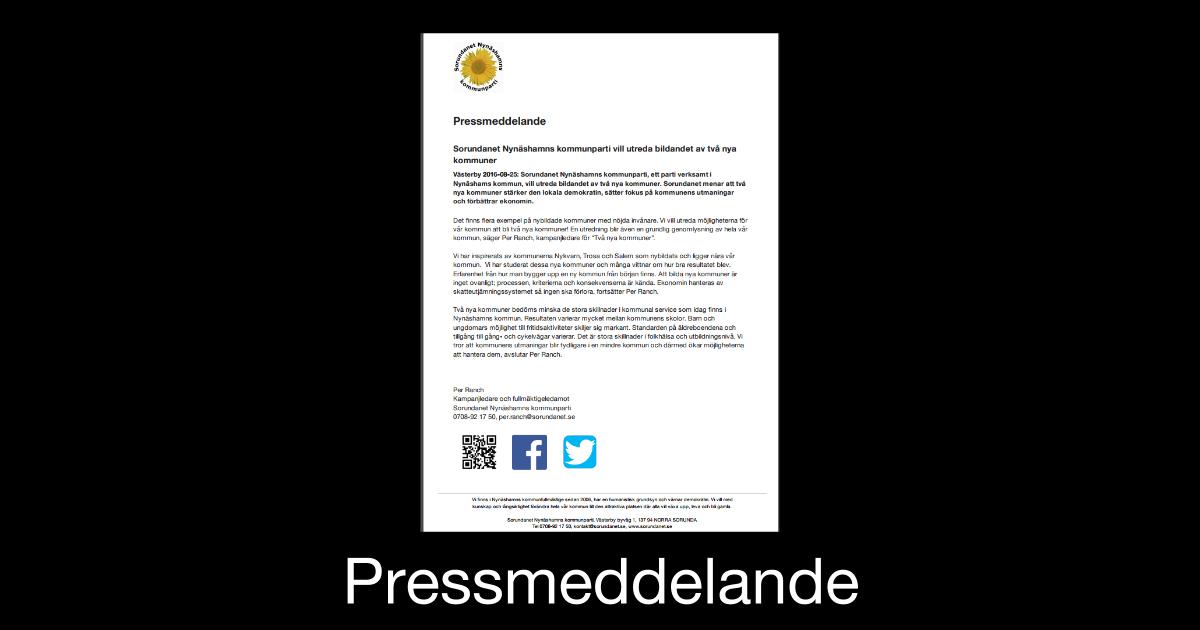 Pressmeddelande Sorundanet Nynäshamns kommunparti vill utreda bildandet av två nya kommuner