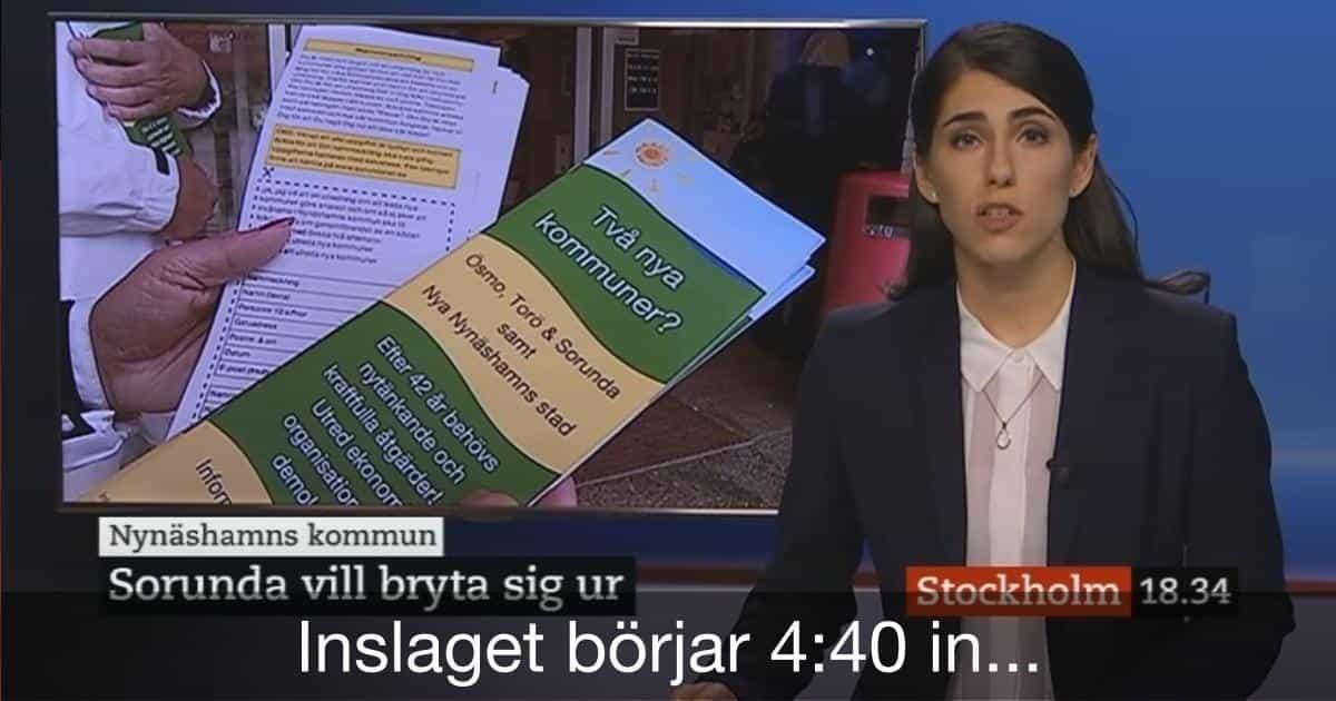 SVT Nyheter Stockholm Exakt samma motargument som vid tidigare nybildningar! Ogenomtänkt eftersom nya kommuner levererar! Se inslaget om namninsamling för att utreda nya kommuner! Inslaget börjar 4:40 in i sändningen.