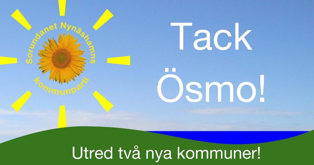 2016-09-26 - Tack Ösmo för uppslutning och engagemang! - Om du inte kunde komma så är Du välkommen till Nynäshamn den 2/10. Lyssna på erfarenheter och ställ frågor till de som bildat ny kommun.