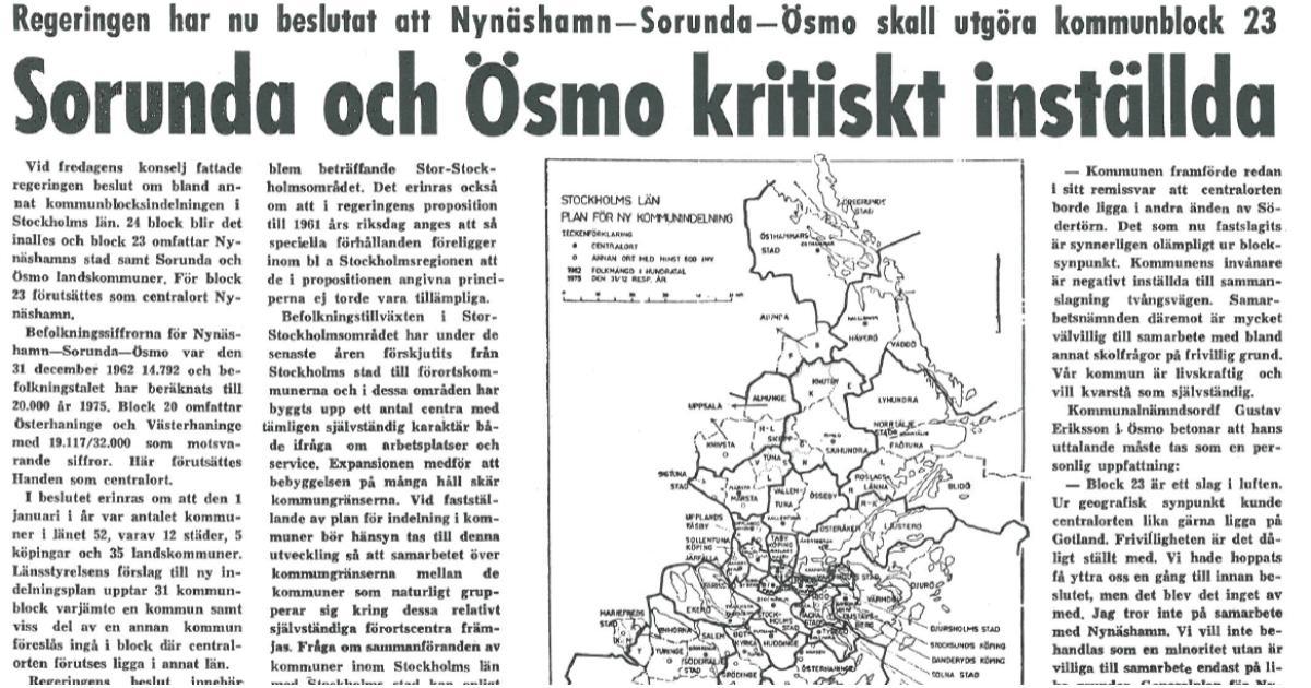 2016-09-30 - Replik Lars G Norman insändare den 5 september i NynäshamnsPosten - Sammanslagningen Ösmo, Sorunda och Nynäshamn var inte frivillig; den var påtvingad av regeringen.