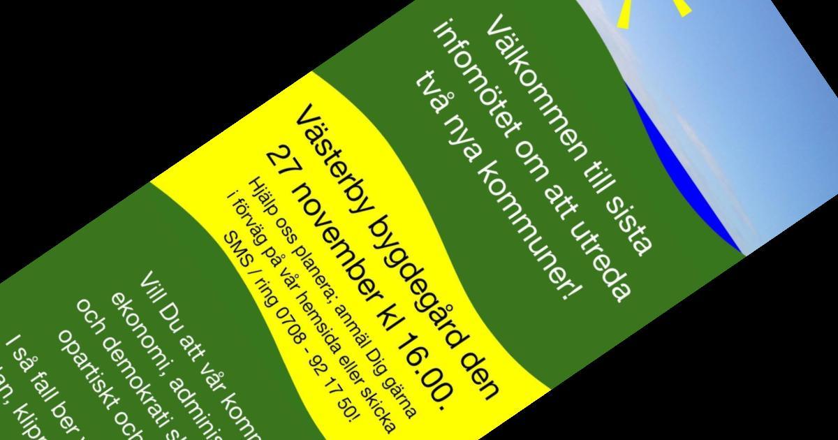 Utskick till hushållen i norra och centrala Sorunda Vi påminner om det sista infomötet som hålls i Västerby bygdegård den 27 november kl 16. Välkomna!