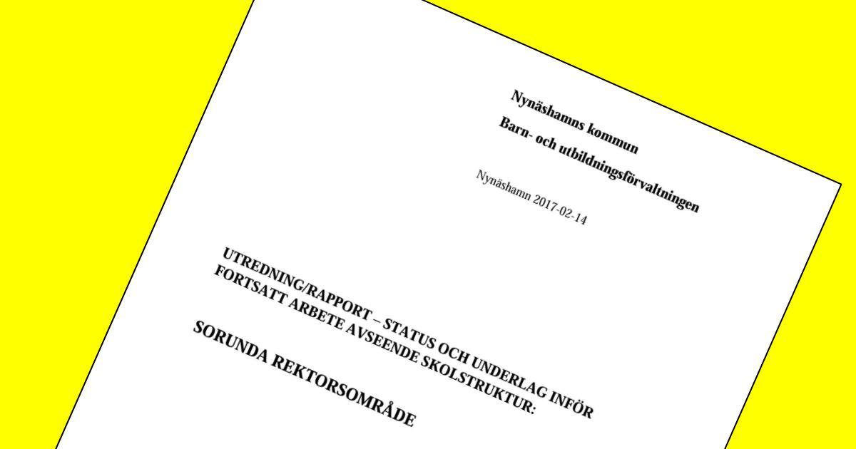 Utredning/Rapport Status och underlag inför fortsatt arbete avseende skolstruktur Sorunda rektorsområde
