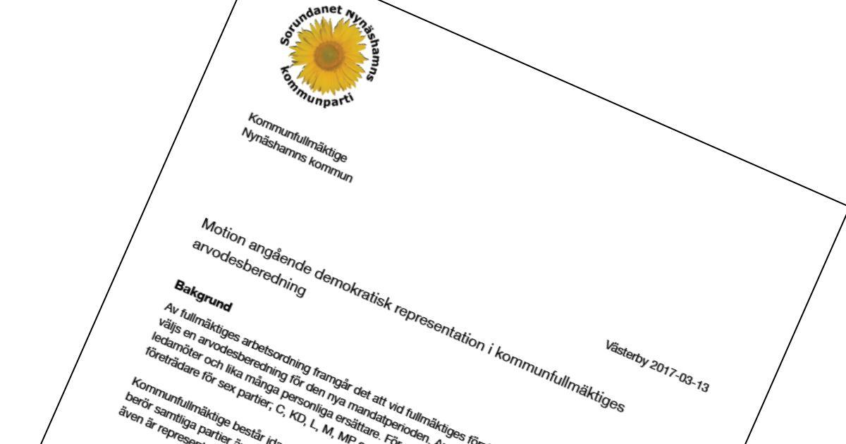 2017-03-13 - Motion angående demokratisk representation i kommunfullmäktiges arvodesberedning - Förbättra den demokratiska insynen och transparensen i arvodesberedningen vars arbete har stor påverkan på samtliga partier.