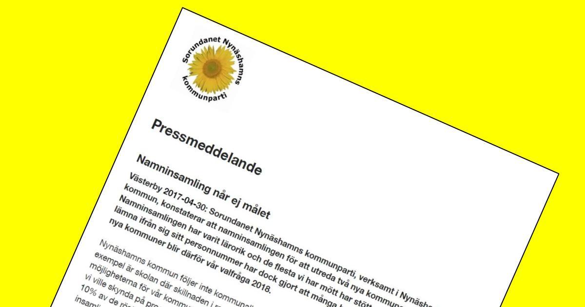 2017-04-30 - Pressmeddelande - Namninsamling når ej målet - Att utreda två nya kommuner blir därför vår valfråga 2018.