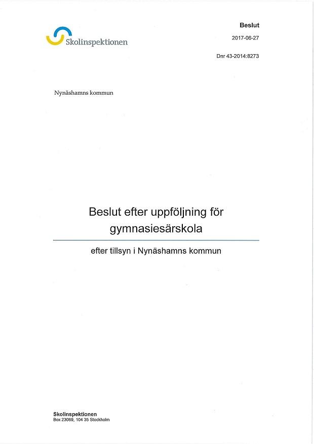 Beslut gymnasiesarskola Nynäshamn