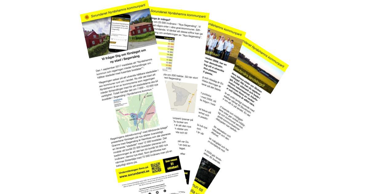 Informationsfolder ny stad i Segersäng Foldern delas ut till alla hushåll i Segersängs by med omnejd