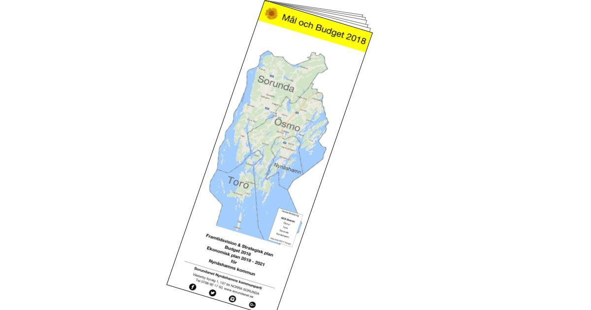 2017-11-06 - Mål och Budget 2018 - Framtidsvision & Strategisk plan. Budget 2018. Ekonomisk plan 2019 - 2021 för Nynäshamns kommun.