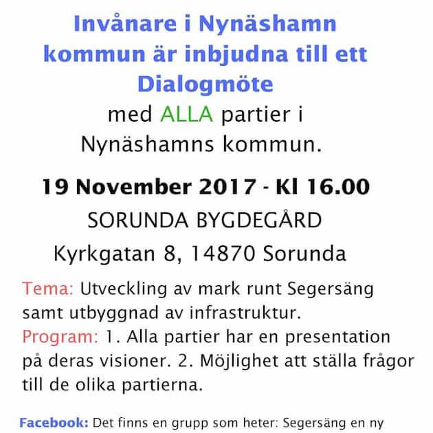 2017-11-16 - Informationsblad rörande möte om utveckling av mark runt Segersäng samt utbyggnad av infrastruktur - Invånarna i vår kommun är inbjudna till ett Dialogmöte med ALLA partier i vår kommun.