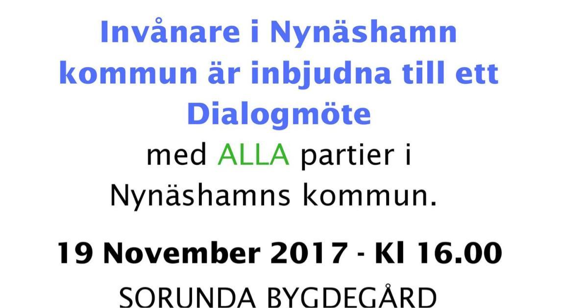 Informationsblad rörande möte om utveckling av mark runt Segersäng samt utbyggnad av infrastruktur Invånarna i Nynäshamns kommun är inbjudna till ett Dialogmöte med ALLA partier i Nynäshamns kommun.