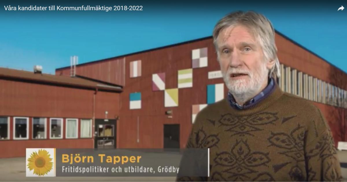 Våra kandidater till Kommunfullmäktige 2018-2022 Björn Tapper är fritidspolitiker, utbildare och bor i Grödby.