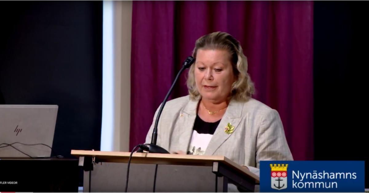 Debatt om ett väderskydd vid en skolbusshållplats Lena Dafgård (SN) debatterar med Daniel Adborn (L).
