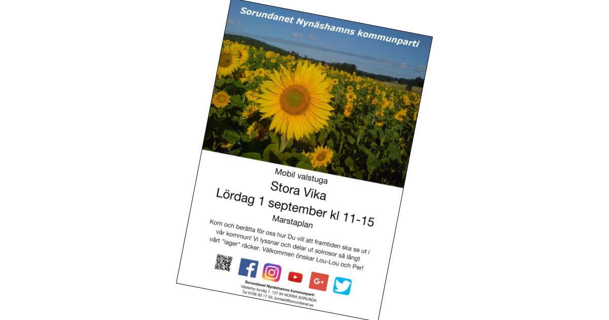 2018-08-25 - Affisch Stora Vika - På lördag kommer vår mobila valstuga till Stora Vika!