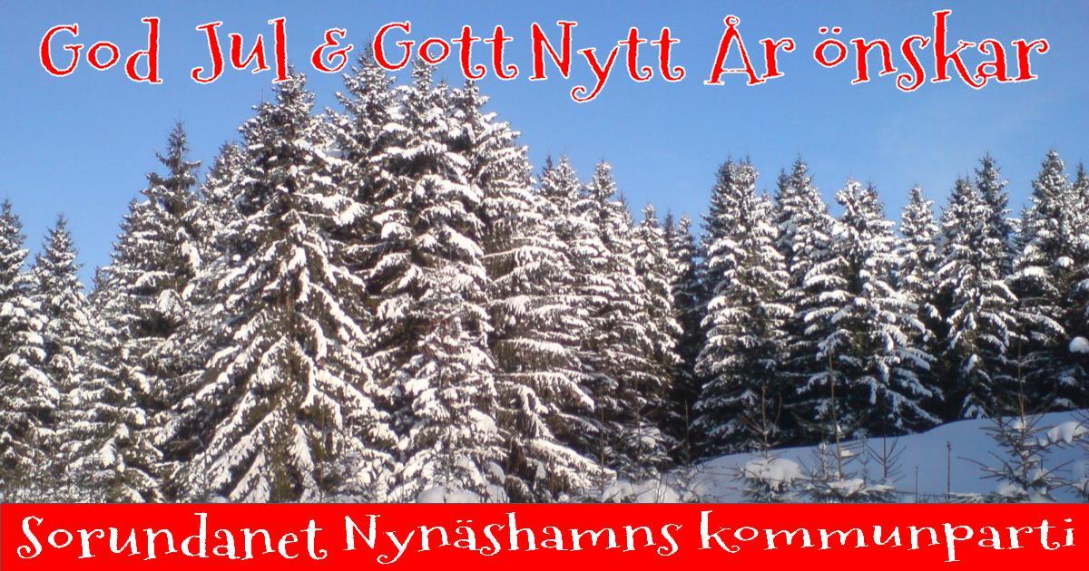 God Jul & Gott Nytt År! Önskar vi i Sorundanet Nynäshamns kommunparti!