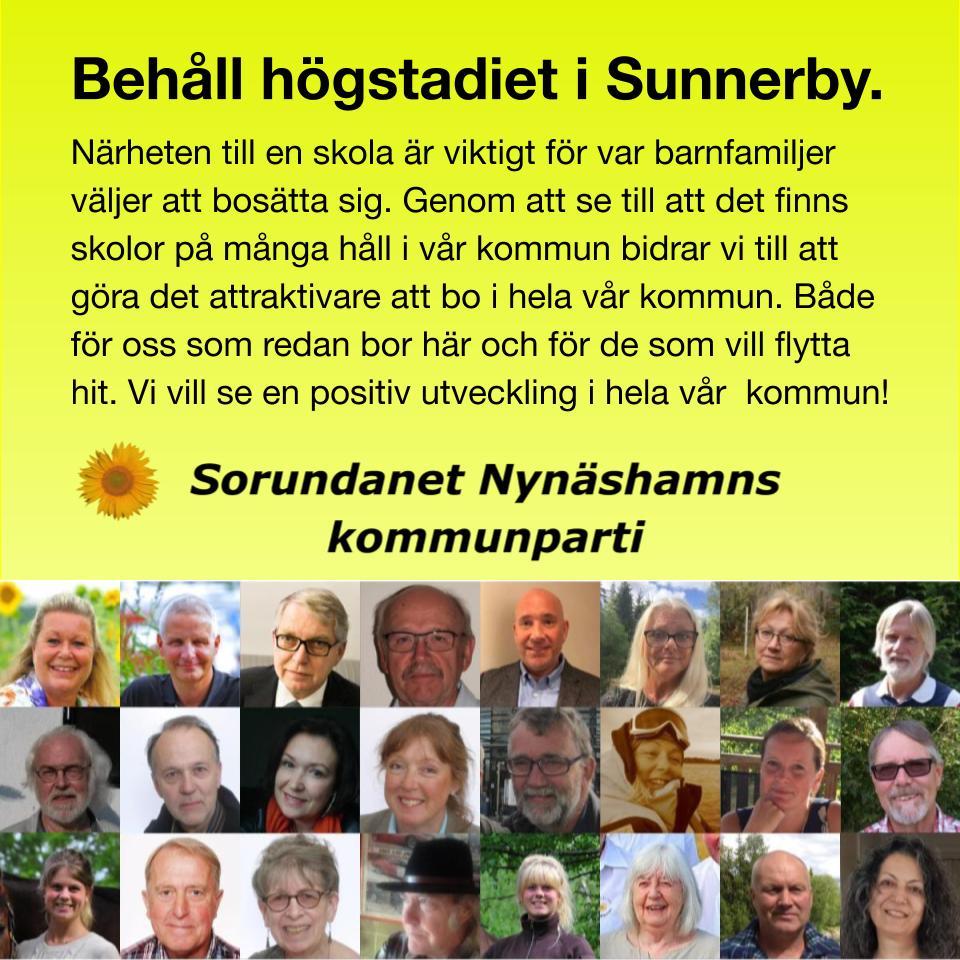Behåll högstadiet i Sunnerby Närheten till en skola är en viktig faktor för var barnfamiljer väljer att bosätta sig.