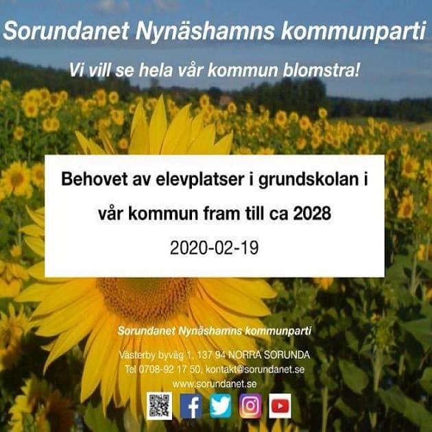 2020-02-19 - Presentation för Barn- och utbildningsnämnden - Behovet av elevplatser i grundskolan fram till ca 2028.
