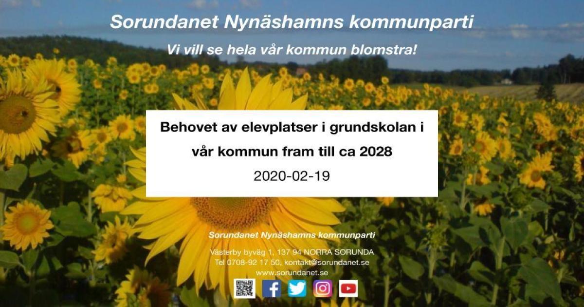 Presentation för Barn- och utbildningsnämnden Behovet av elevplatser i grundskolan fram till ca 2028.