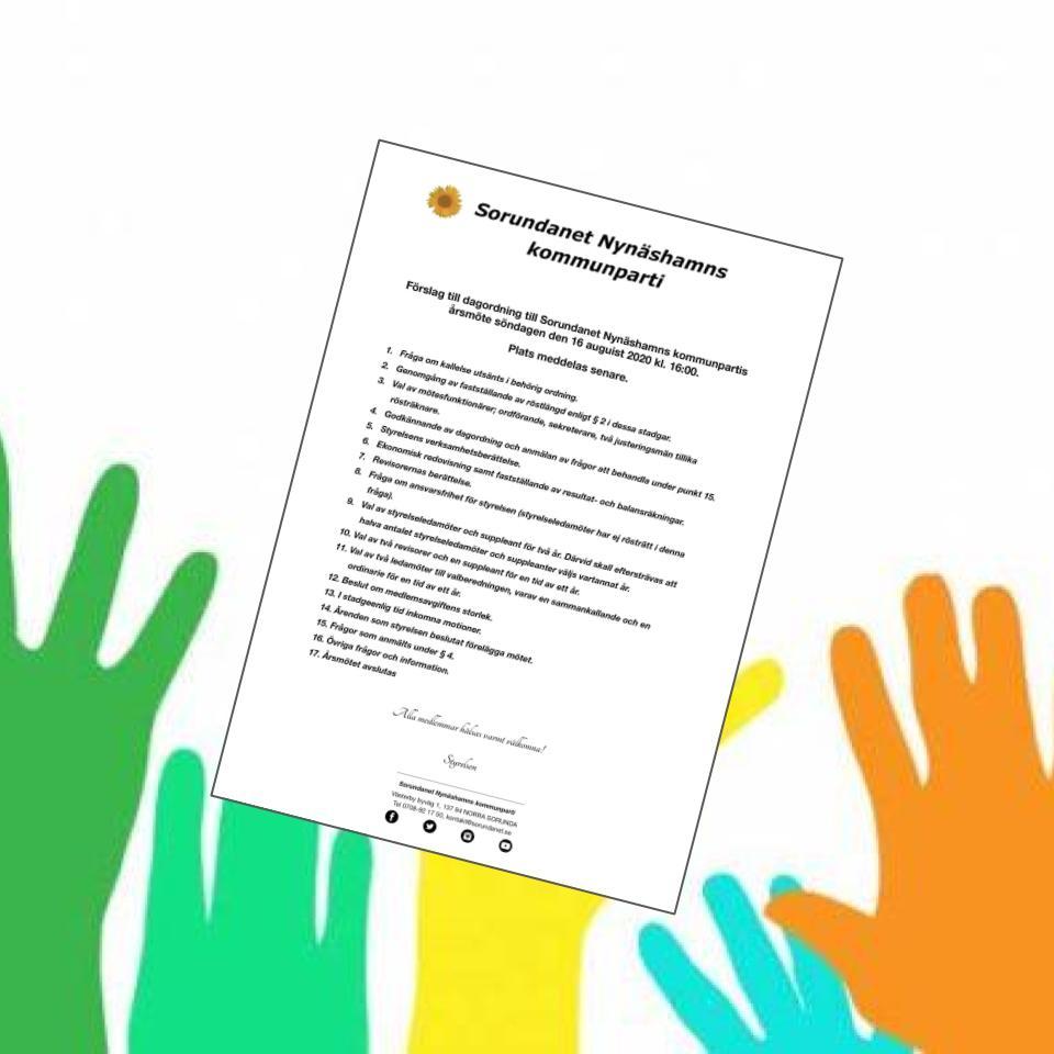 2020-07-23 - Förslag till dagordning - Till årsmöte söndagen den 16 augusti 2020 kl. 16:00.