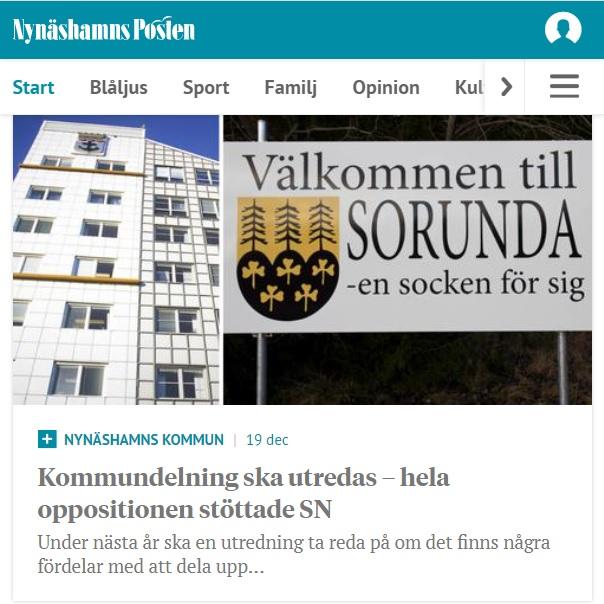 2020-12-19 - Kommundelning ska utredas – hela oppositionen stöttade SN (LÅST ARTIKEL) - Under nästa år ska en utredning ta reda på om det finns några fördelar med att dela upp Nynäshamns kommun.