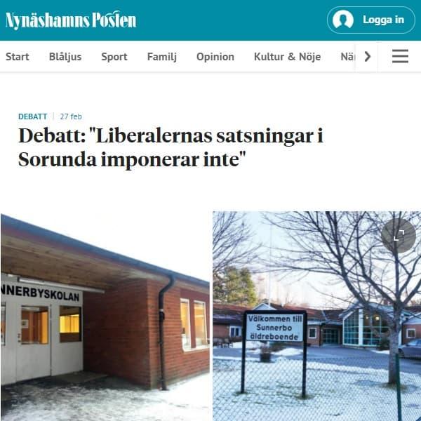 """2021-02-27 - Liberalernas """"stora satsningar"""" i Sorunda imponerar inte - Självklart att skola och äldreomsorg byggs ut i takt med att invånarantalet ökar!"""