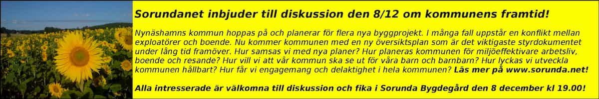 Annons om möte i Sorunda bygdegård Vi bjuder in till diskussion om vår kommuns framtid!